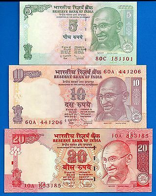 India P-88A P-89 P-96 Mahatma Gandhi Uncirculated Banknotes Set # 8