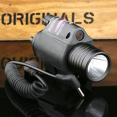 Campact CREE Flashlight Torch Red Laser Scope Sight Combo for 20mm Picatinny