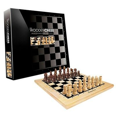 Deluxe Wooden Classic Chess Set 30cm [Solid Light & Dark Wood] Board Game Puzzle