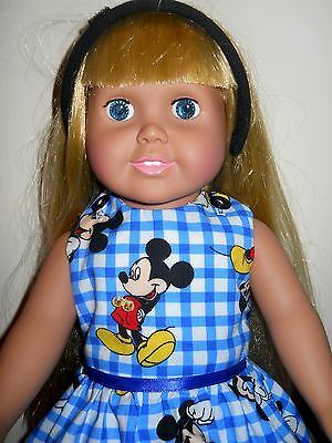 AMERICAN GIRL & 18 IN DOLL CLOTHES HANDMADE MICKEY MOUSE DISNEY CHECK DRESS