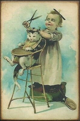 Wood Magnet~Cat~Little Girl~Humorous~Vintage Style~157