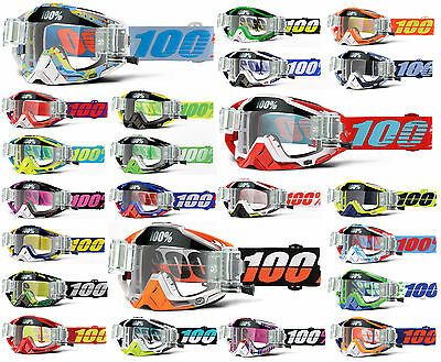 2017 100% PERCENT RACECRAFT MOTOCROSS MX GOGGLES with GSVS ROLL OFF CANISTERS