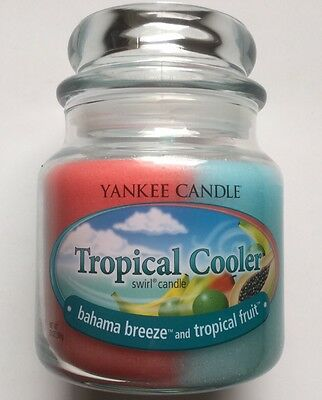 YANKEE CANDLE TROPICAL COOLER 13 oz SWIRL BAHAMA BREEZE & TROPICAL FRUIT RETIRED