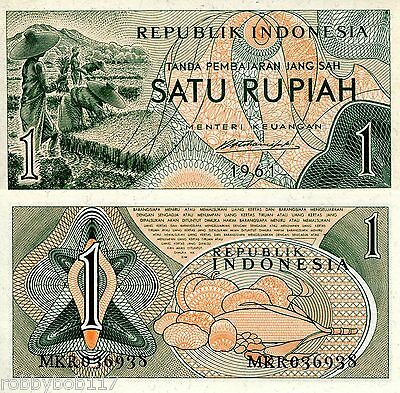 INDONESIA 1 Rupiah Banknote World Paper Money aUNC (minor foxing) Currency p78