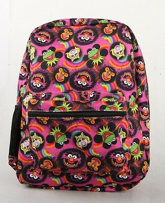 "The Muppets 16"" Kids Boys Girls Large  Backpack Faces Kermit Ms Piggy Animal"