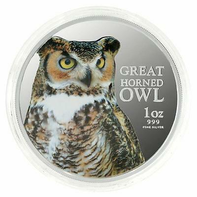 Niue 2013 $2 Birds of Prey - Great Horned Owl 1 Oz Silver Proof Coin