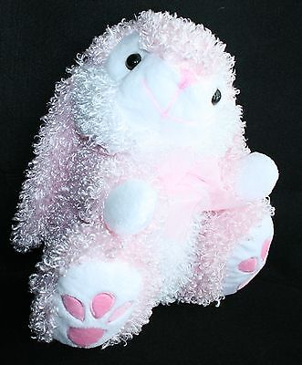 """Curly Pink Hair Plush Easter Bunny Rabbit Lovey Stuffed Animal 12"""" Soft Squishy"""