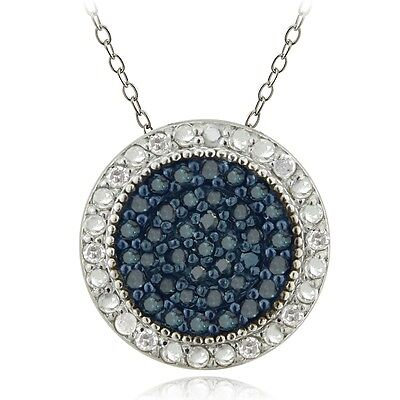 925 Sterling Silver 1/2ct Blue & White Diamond Circle Necklace, 18""