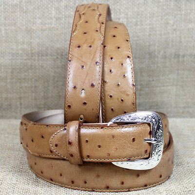 "Tony Lama 1-3/8 "" Mens Tan Ostrich Print Engraved Silver Leather Dress Belt"