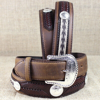 Tony Lama Brown The Duke Center Applique Leather Belt Cowboy Trail Rider