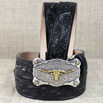 Tony Lama Black Boy's Floral Tooled Leather Little Texas Western Belt