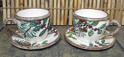 YANKEE CANDLE CHRISTMAS GREENERY CUP & SAUCER TEALIGHT HOLDER 2012 Lot of 2