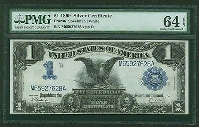 "1899 $1 SILVER CERTIFICATE, FR-236, PMG CERTIFIED ""CHOICE UNCIRCULATED-64-EPQ"""