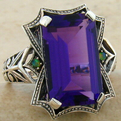 6 CT. LAB AMETHYST & OPAL ANTIQUE DESIGN .925 STERLING SILVER RING SIZE 10, #490