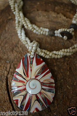 """Gorgeous Designer 3rd Eye Celtic Spiral Shell Mother of Pearl 18"""" Necklace"""