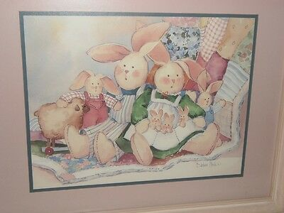 Bunnies Home Interior Homco Picture Artist Signed By Barbara Mock Nursery Easter