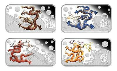 Cook Islands 2012 $1 Year of the Dragon 4 x 1 Oz Silver Proof Rectangle Coin Set
