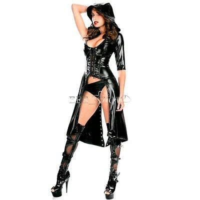 Wetlook Schnür-Kleid Mantel Lackleder  Leder Look Fetisch Domina Gothic Hoody