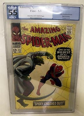 MARVEL Comics SPIDERMAN SILVER age #45 CGC PGX 5.5 1966 LIZARD man KEY AMAZING