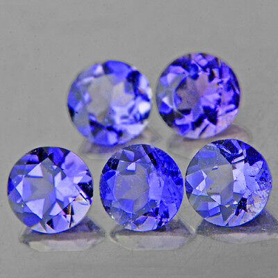 UNHEATED IF~1.11CTS/5p ROUND 4.0MM SPARKLING TOP PURPLE BLUE IOLITE 100% NATURAL