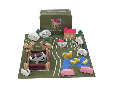 NEW Children's Apples to Pears Wooden Farm Play Set & Animals in TIN Case