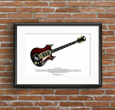 Jerry Garcia's Tiger guitar ART POSTER A3 size