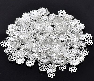250/500 x Silver Plated Flower Bead Caps End Findings - 6mm - lady-muck1