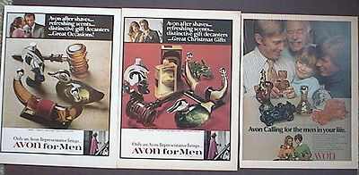 Avon Collectable Bottles 1968 Ads, 3 different