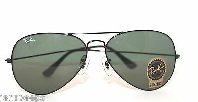 Authentic Ray Ban Sunglasses 3025 Aviator in Black New Last one! G15 Lens