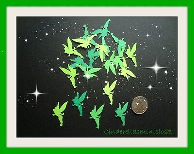 60 DISNEY TINKERBELL TINKER BELL DIE CUTS PUNCHES 5 SHADES OF GREEN CONFETTI