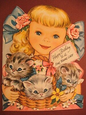 DARLING VINTAGE GREETING CARD HAPPY BIRTHDAY TO A FINE YOUNG LADY KITTY CATS