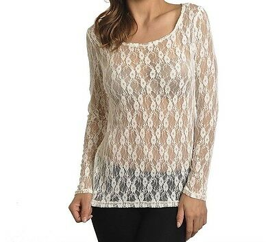 STUNNING WOMEN'S IVORY LACE BLOUSE STRETCH TUNIC TOP SEXY MEDIUM NEW w TAGS