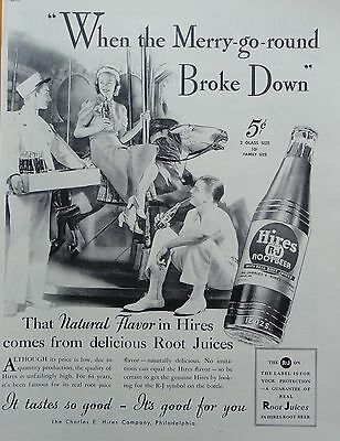 1937 PRINT AD HIRES ROOT BEER when the merry-go-round broke down. Hires break