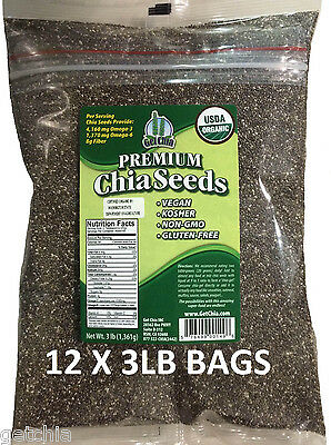 36 POUNDS CERTIFIED ORGANIC Black Chia Seed Get Raw Seeds Gluten-Free Non-Gmo