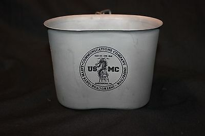 Used USMC Canteen Cup Aluminum Butterfly Handles. Det 4 Communications Inspector