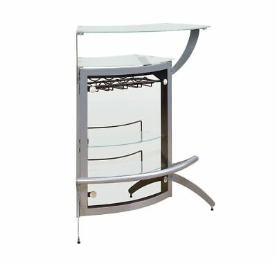 Contemporary Silver Metal Bar Unit with Glass Top by Coaster 100135