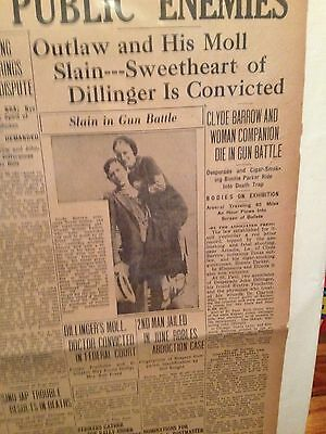 Bonnie and Clyde cut down, original newspaper, Dillinger sweetheart convicted