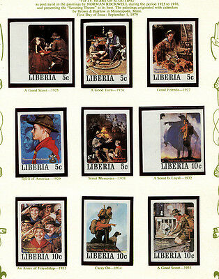 Liberia 1979 Scouts Norman Rockwell Art Scott 853-7 RARE Set of 50 Imperf Stamps