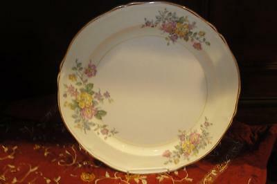 Edwin Knowles Vintage Serving Plate Gold Rimmed 1940's Very Nice Floral Design