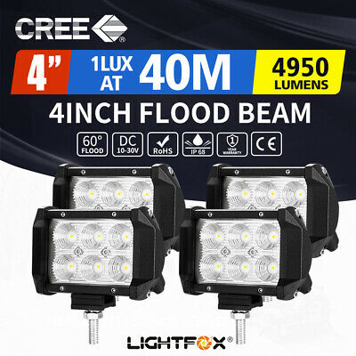 4X 4inch 18W CREE LED Work Driving Light Bar SPOT FLOOD Beam Offroad 4WD Reverse