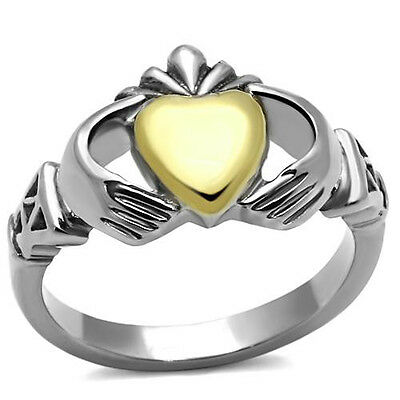 Stainless Steel Ion Two Tone (Gold & Silver) Irish Claddagh Ring Sz 5,6,7,8,9,10
