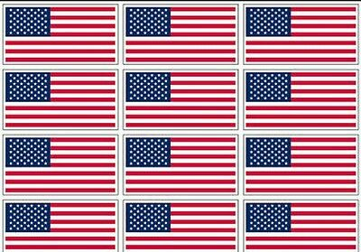 "12 qty of 3""x5"" USA Flag Decal Stickers - American US flag MADE IN USA"