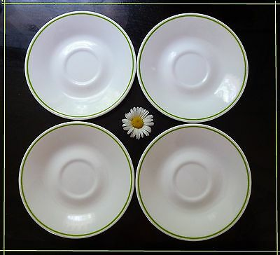 """4 (FOUR)  Corelle Spring Meadow 6 1/4"""" Saucers by Corning Lime Green Trim"""