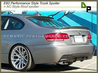 #354 Silver P-Style Trunk Spoiler + AC Roof Lip For BMW E92 3-Series Coupe 07-13