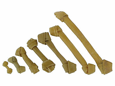 Rawhide Hide Knotted Bones Natural Dog Chews Treats 3,4,6,8,10,12,15 Inch Sizes