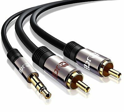 0.5m PRO OFC Stereo 3.5mm Jack Plug to TWIN 2 x RCA PHONO Audio Lead GOLD CABLE