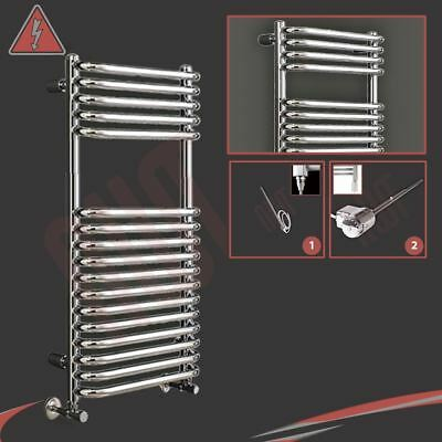 "500mm (w) x 1200mm (h) Pre-filled Electric ""Orion"" Chrome Towel Rail - 300W"