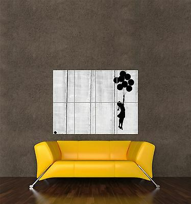 Poster Print Painting Graffiti Banksy Balloon Girl Floating Silhouette Seb172