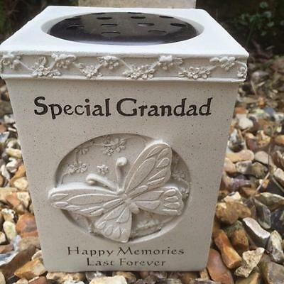 Graveside Memorial GRAVE VASE Flower Rose Bowl with Butterfly SPECIAL GRANDAD