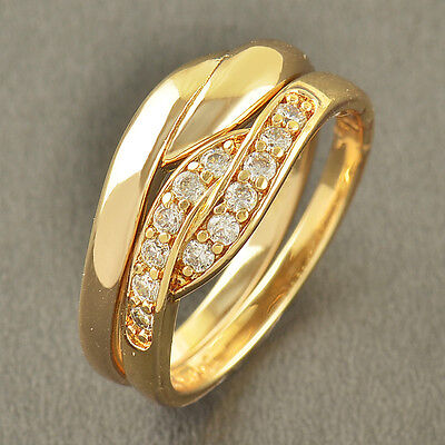 2-Ring Wedding Engagement Set,Size 8,Gorgeous 9K Solid Gold Filled CZ,Z3561